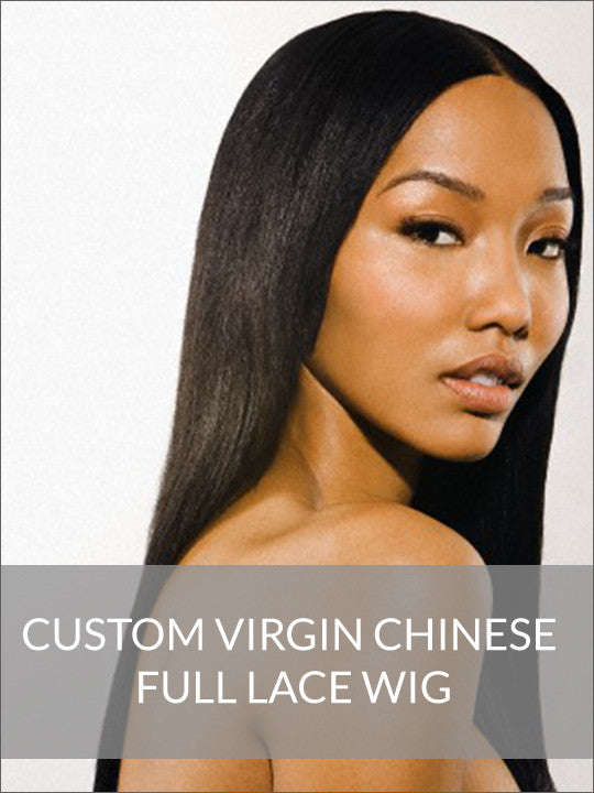 Custom  Virgin Chinese Full Lace Wig