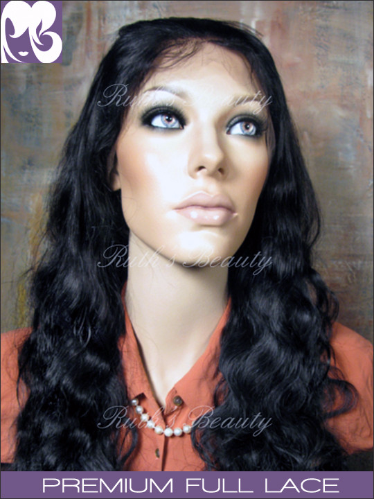 "Clearance Full Lace Wig: Meredith Color 1, 18"", Full lace, 6 combs"