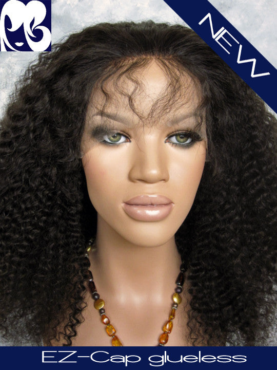 Kyra Afro Kinky Curly Glueless Indian Remy EZ-Cap Full Lace Wig