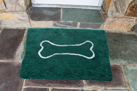 "Large Doormat 26x36"": Evergreen with oatmeal bone"