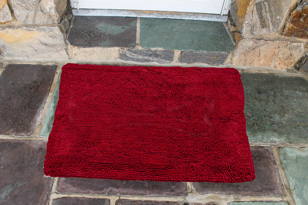 Plain Cranberry Absorbent Doormat in Large and Extra-Large