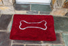 "Large Doormat 26x36"": Cranberry with oatmeal bone"
