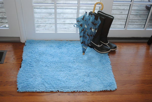 Plain Blue Absorbent Doormat in Large and Extra-Large
