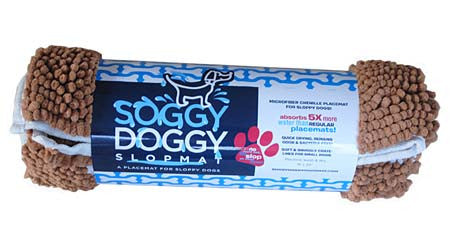 Soggy Doggy Slopmat: Caramel Brown with Oatmeal Bone