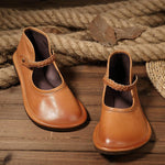 Women Casual Handmade Soft Leather Braided Strap Shoes