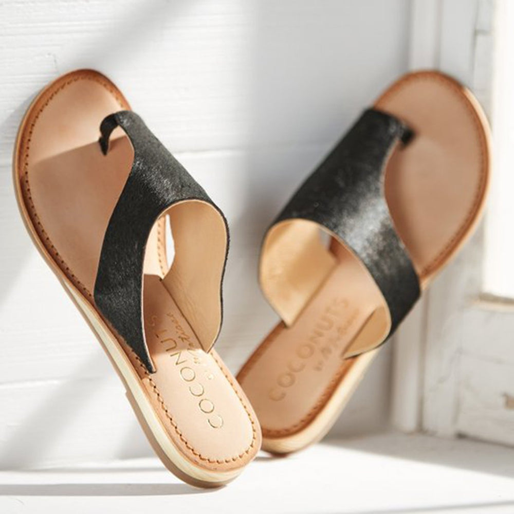 Women Summer Beach Slippers Artificial Leather Flat Flip-flops