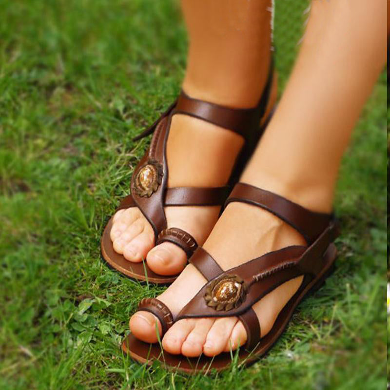 Sandals - Brown Flat Heel Summer Daily Sandals