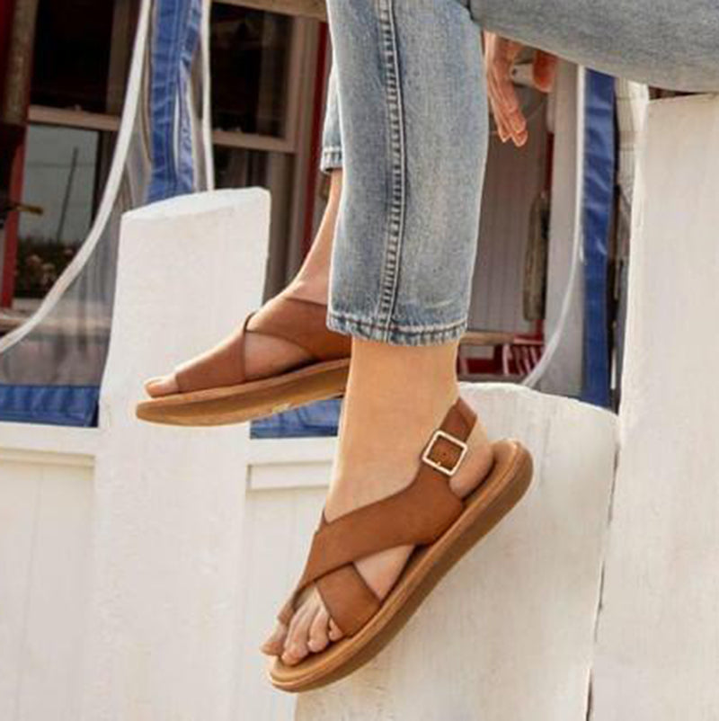 Women Casual Criss-Cross Toe Ring Slingback Sandals