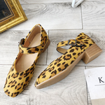 Women Leopard Buckle Daily Mary Jane Shoes Suede Flat Heel Loafers
