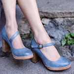 Blue Chunky Heel All Season Faux Leather Other Shoes