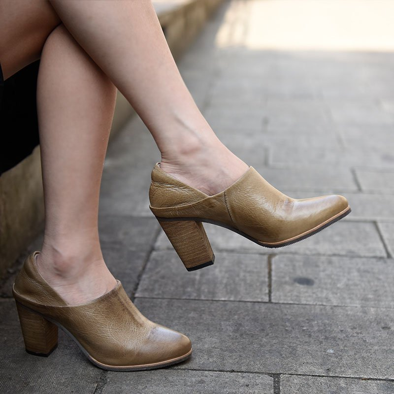Women Casual Slip-On Chunky Heel Leather Shoes