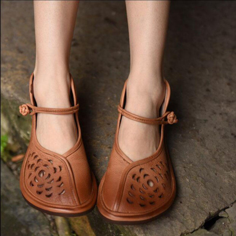 Tan Summer Faux Leather Flats