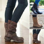 Plus Size Adjustable Buckle Ankle Boots Block Heel Riding Boots