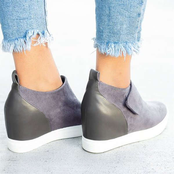 Women Casual Athletic Slip On Loafers Increase Height Sneakers