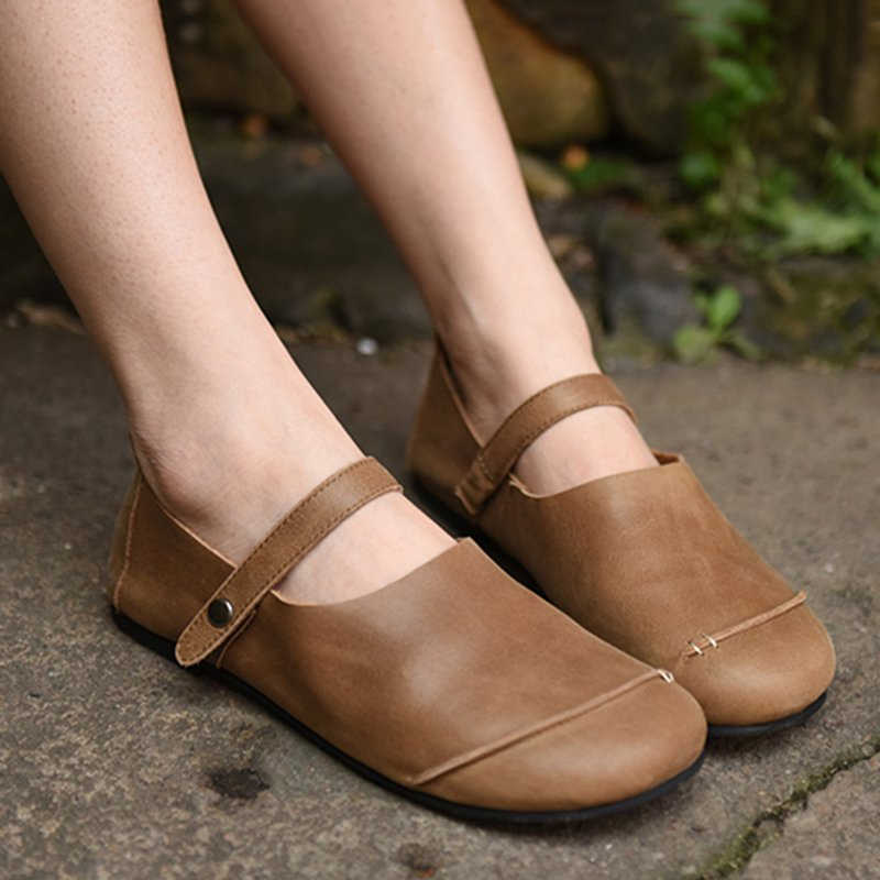 Women Buttoned Flat Heel Daily Loafers