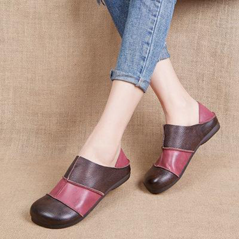 Women Retro Leather Handmade Flat Shoes