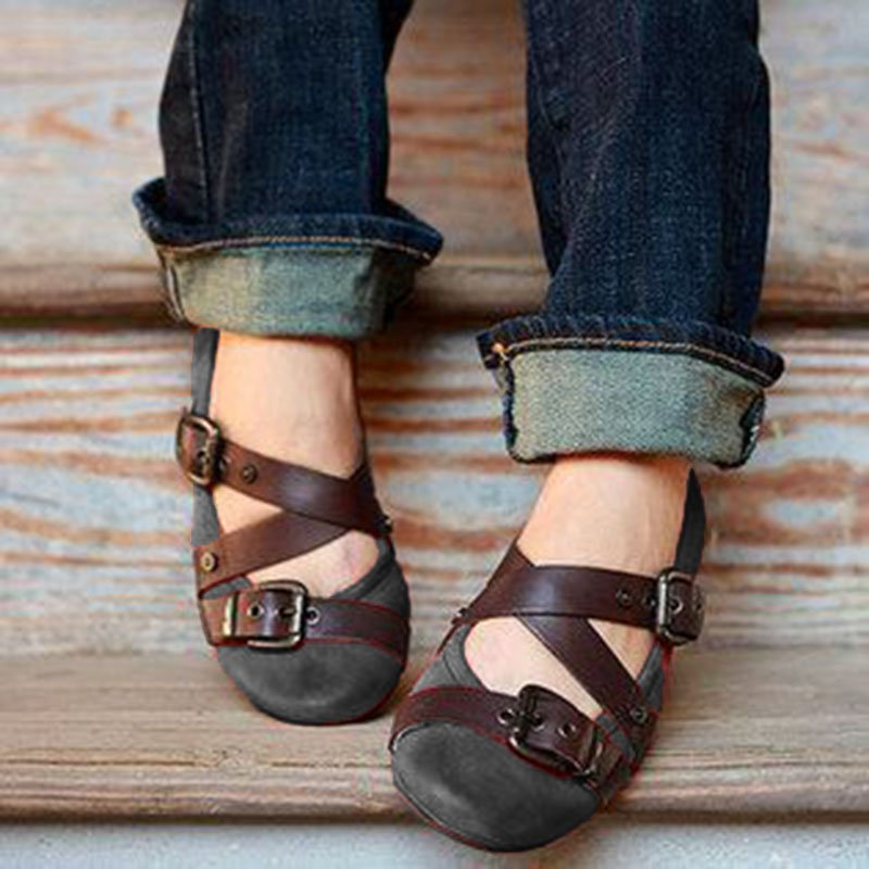 Buckle Strap Casual Flats Loafers Women Shoes