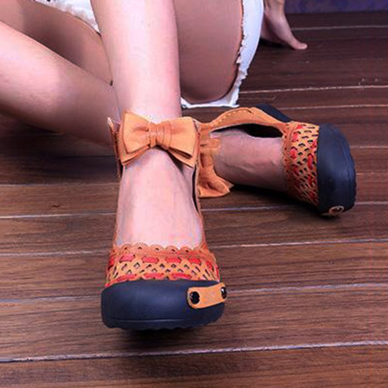 Women Bowknot Hollow-Out Flat Heel Daily Suede Flats