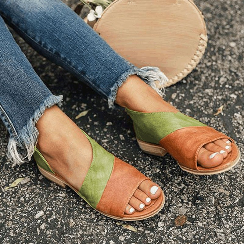 Women Leather Flat Heel Patchwork Sandals Vicmyth
