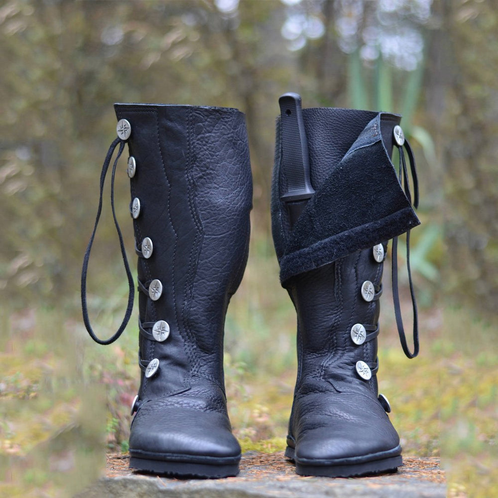 Women Fashion  Side Buttons Bandage Leather Boots