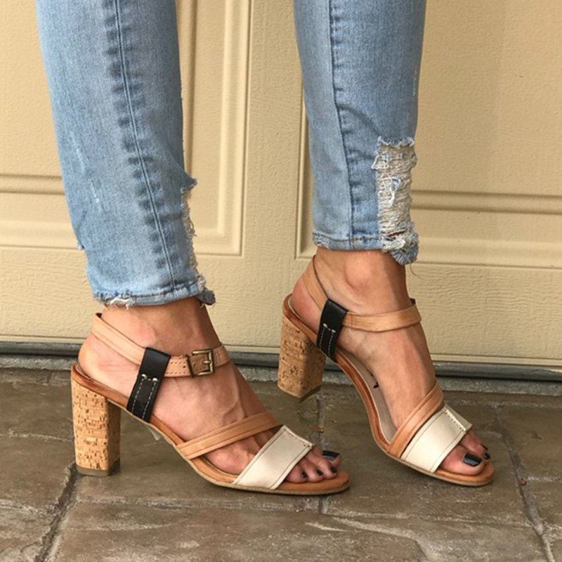 Chunky Heel Ankle Strap Sandals Slingback  Open Toe Adjustable Buckle Sandals
