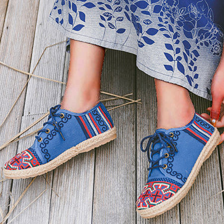 All Season Flat Heel Floral Print Daily Loafers