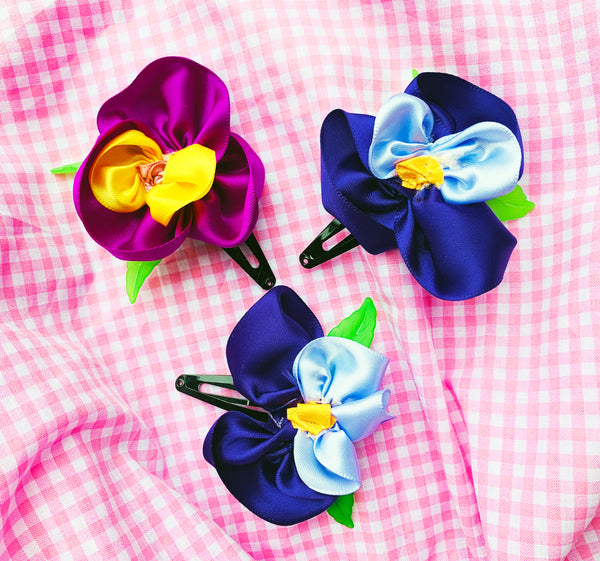 Handmade Pansy Hair Clips - NEARLY GONE!