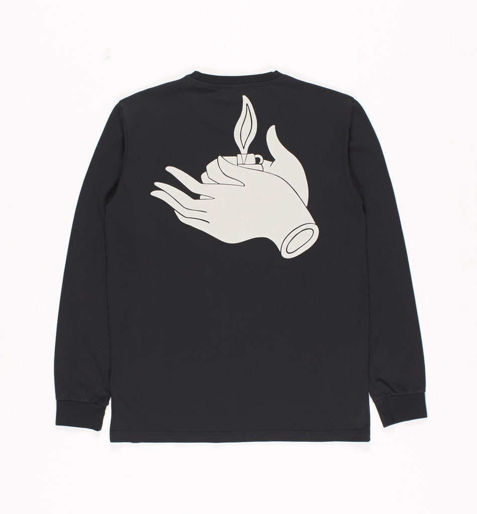 PARRA LONG SLEEVE FLAME HOLD T-SHIRT - BLACK
