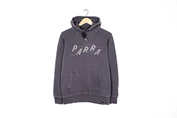 "PARRA ""HOODED RACING SWEATER"" - STONEWASHED BLACK"