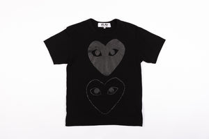 CDG PLAY TWO BLACK HEARTS T-SHIRT