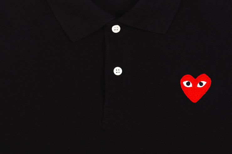 CDG PLAY POLO SHIRT RED HEART