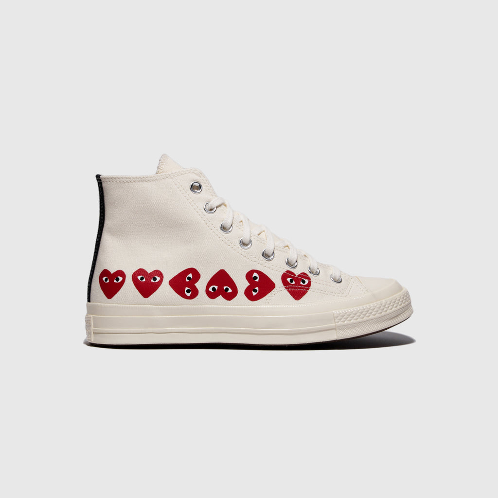 "CDG PLAY CONVERSE CHUCK TAYLOR ALL-STAR '70 HIGH ""MULTI HEART"""