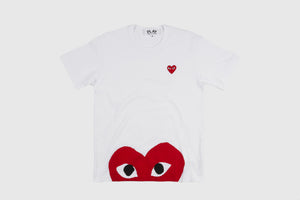 CDG PLAY S/S T-SHIRT WITH RED BOTTOM HEART