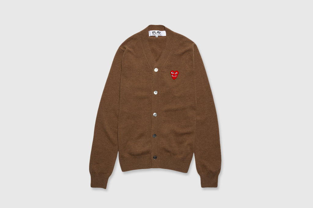 COMME DES GARÇONS PLAY DOUBLE RED HEART CARDIGAN