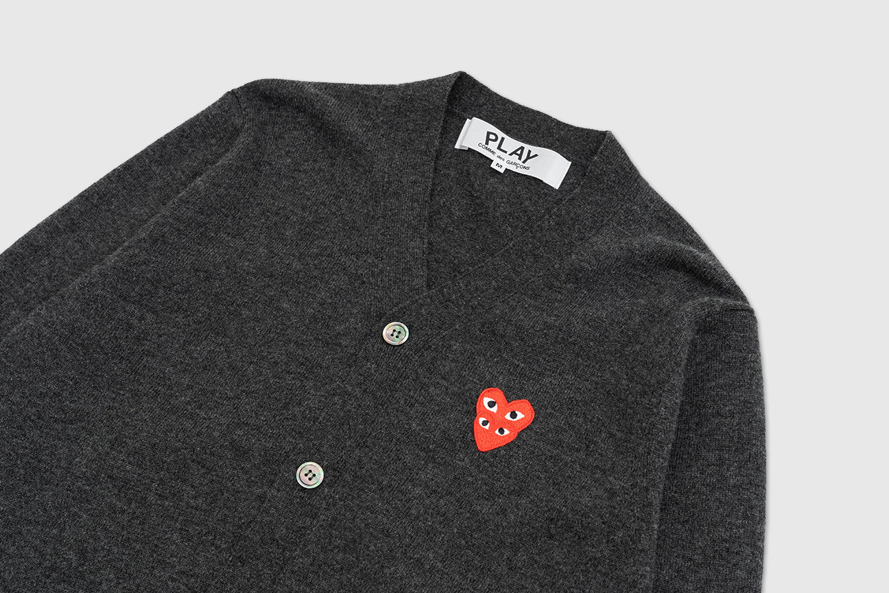 CDG PLAY DOUBLE RED HEART CARDIGAN