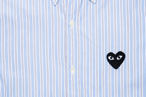 CDG PLAY STRIPED L/S BUTTON DOWN