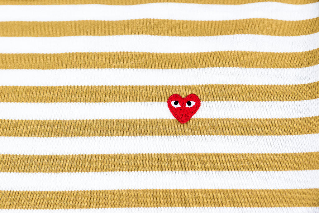 CDG PLAY COLOR SERIES LITTLE RED HEART STRIPED LONG-SLEEVED-YELLOW/WHITE