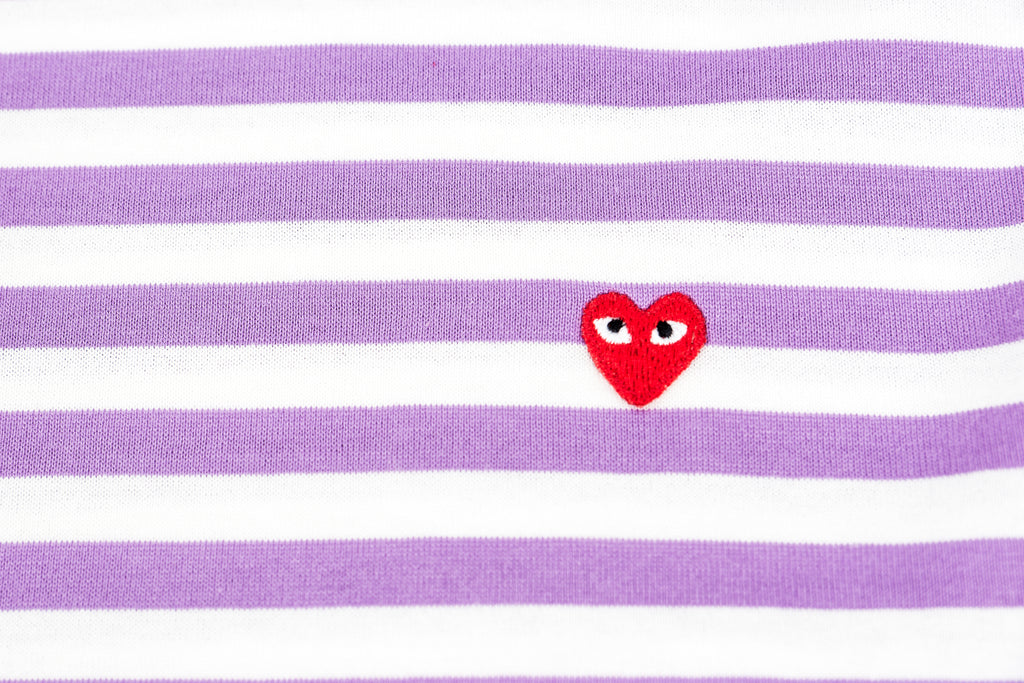 CDG PLAY COLOR SERIES LITTLE RED HEART STRIPED LONG-SLEEVED-PURPLE/WHITE