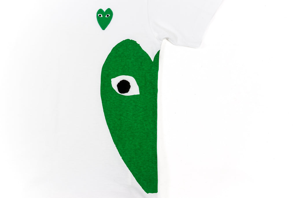 CDG PLAY GREEN HEART T-SHIRT-WHITE