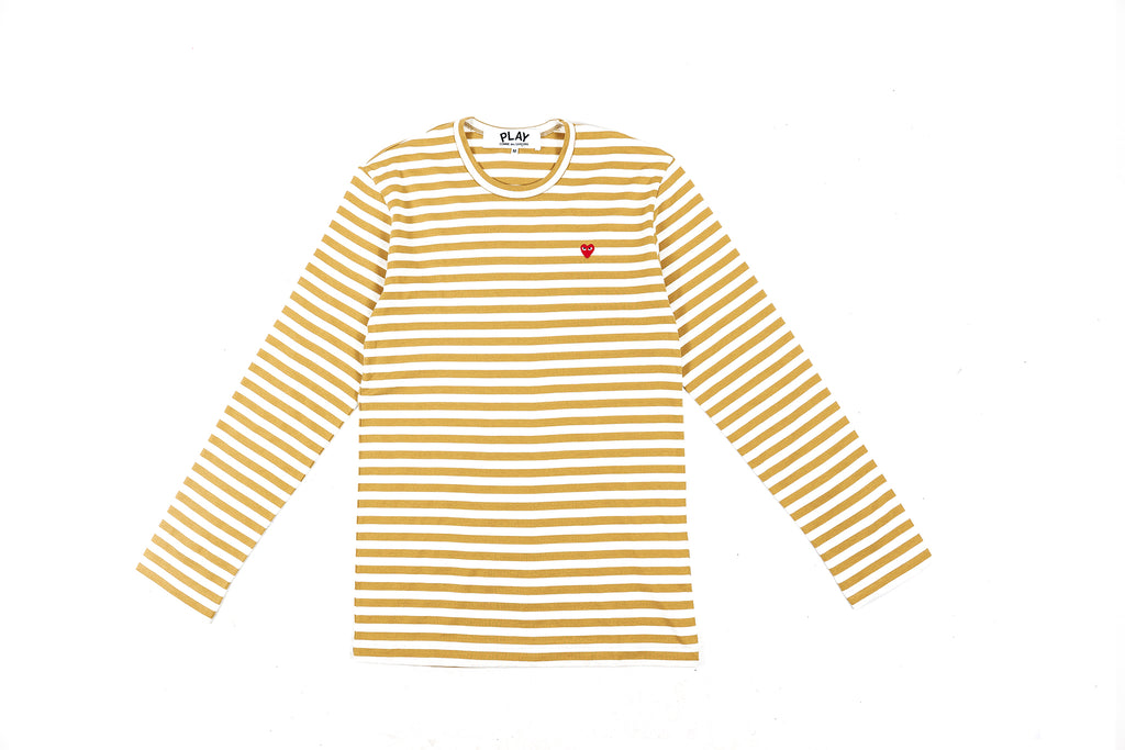 ca841f2b0c96 CDG PLAY COLOR SERIES LITTLE RED HEART STRIPED L S T-SHIRT