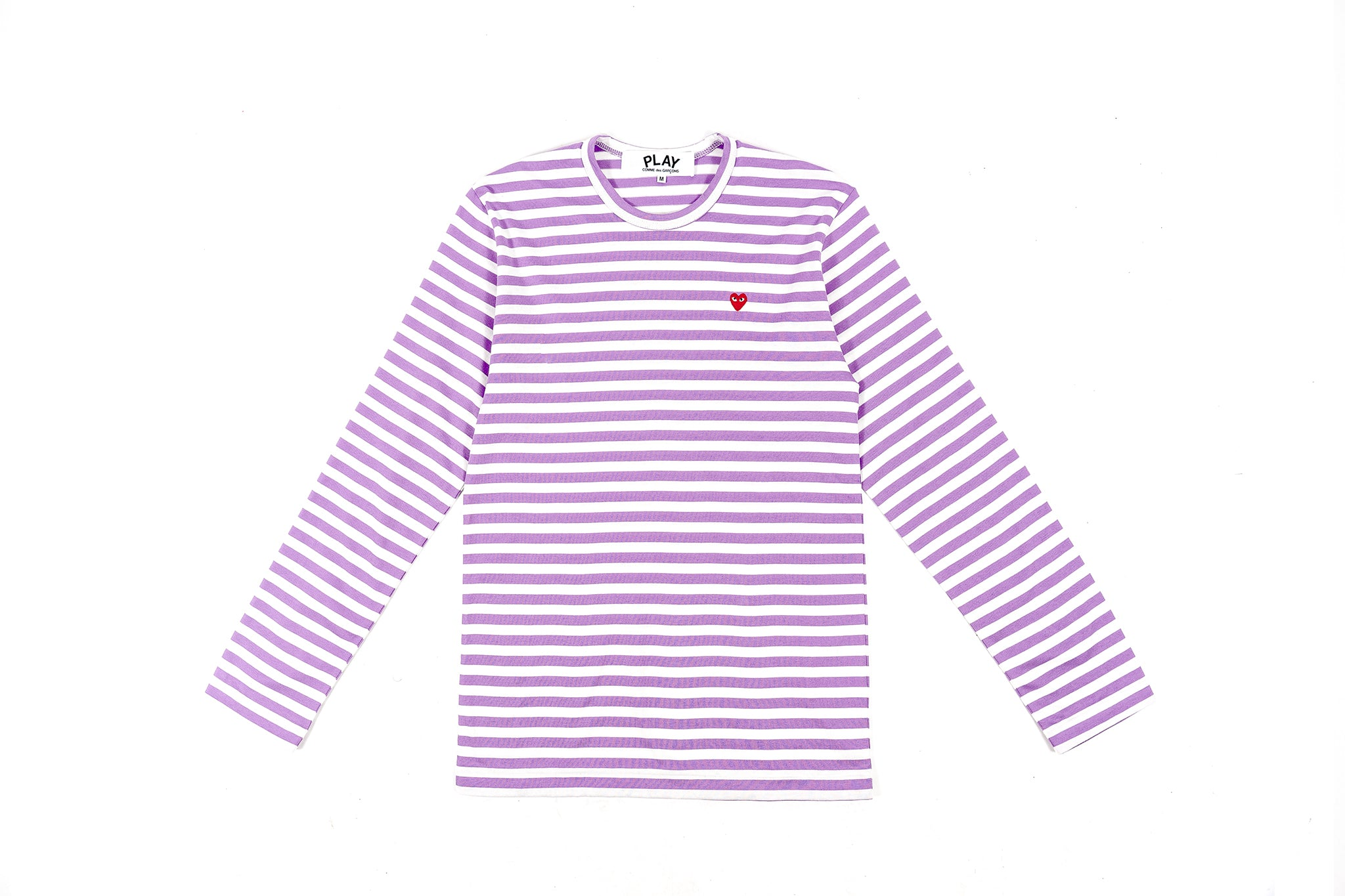 CDG PLAY COLOR SERIES LITTLE RED HEART STRIPED L/S T-SHIRT