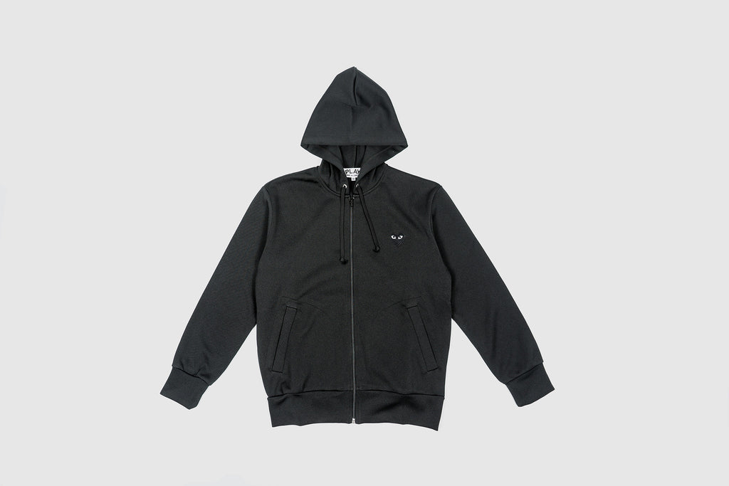 CDG PLAY FULL ZIP HOODY-BLACK