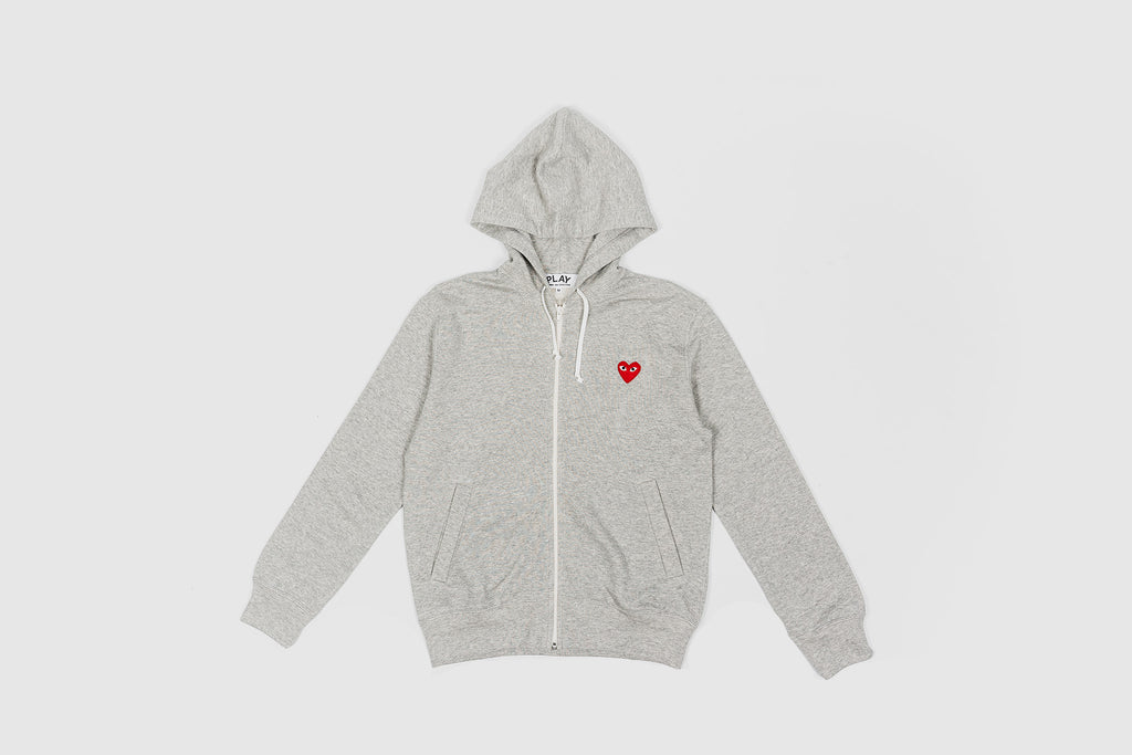 CDG PLAY FULL ZIP HOODY-GREY/RED