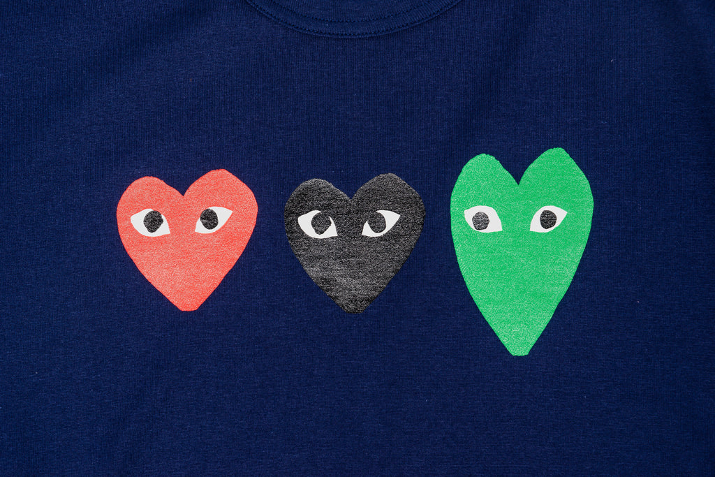 CDG PLAY THREE HEARTS T-SHIRT