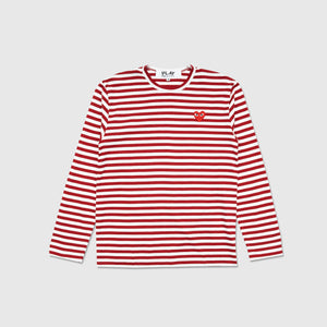 COMME DES GARÇONS PLAY BIG RED HEART STRIPED L/S T-SHIRT