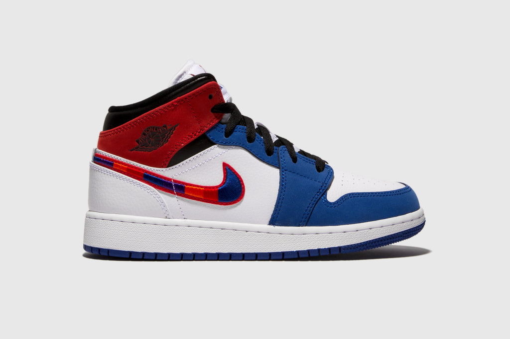 "AIR JORDAN 1 MID SE (GS) ""MULTICOLORED SWOOSH"""