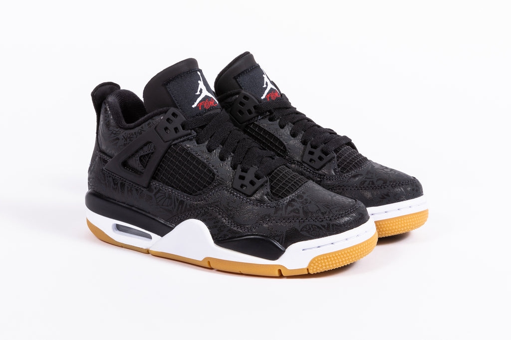 "AIR JORDAN 4 RETRO SE LASER ""BLACK GUM"" (GS)"