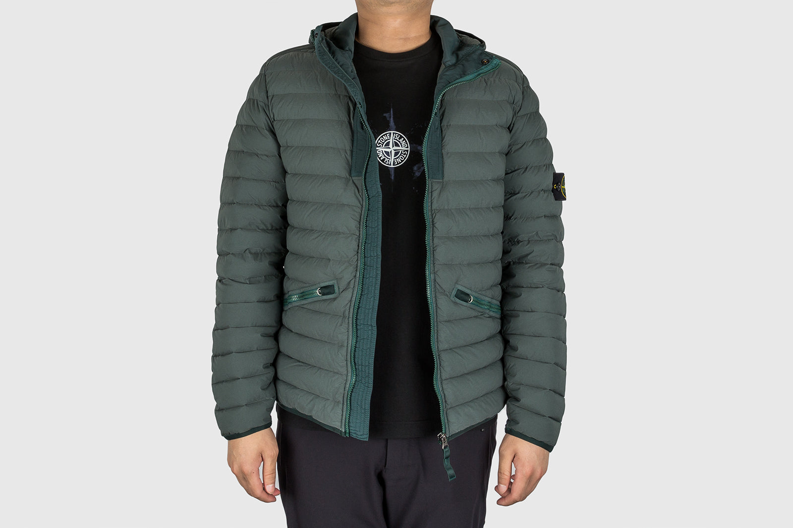 STONE ISLAND LOOM WOVEN HOODED DOWN JACKET