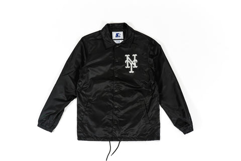 PACKER X STARTER X NY METS COACHES JACKET - BLACK/REFLECTIVE SILVER