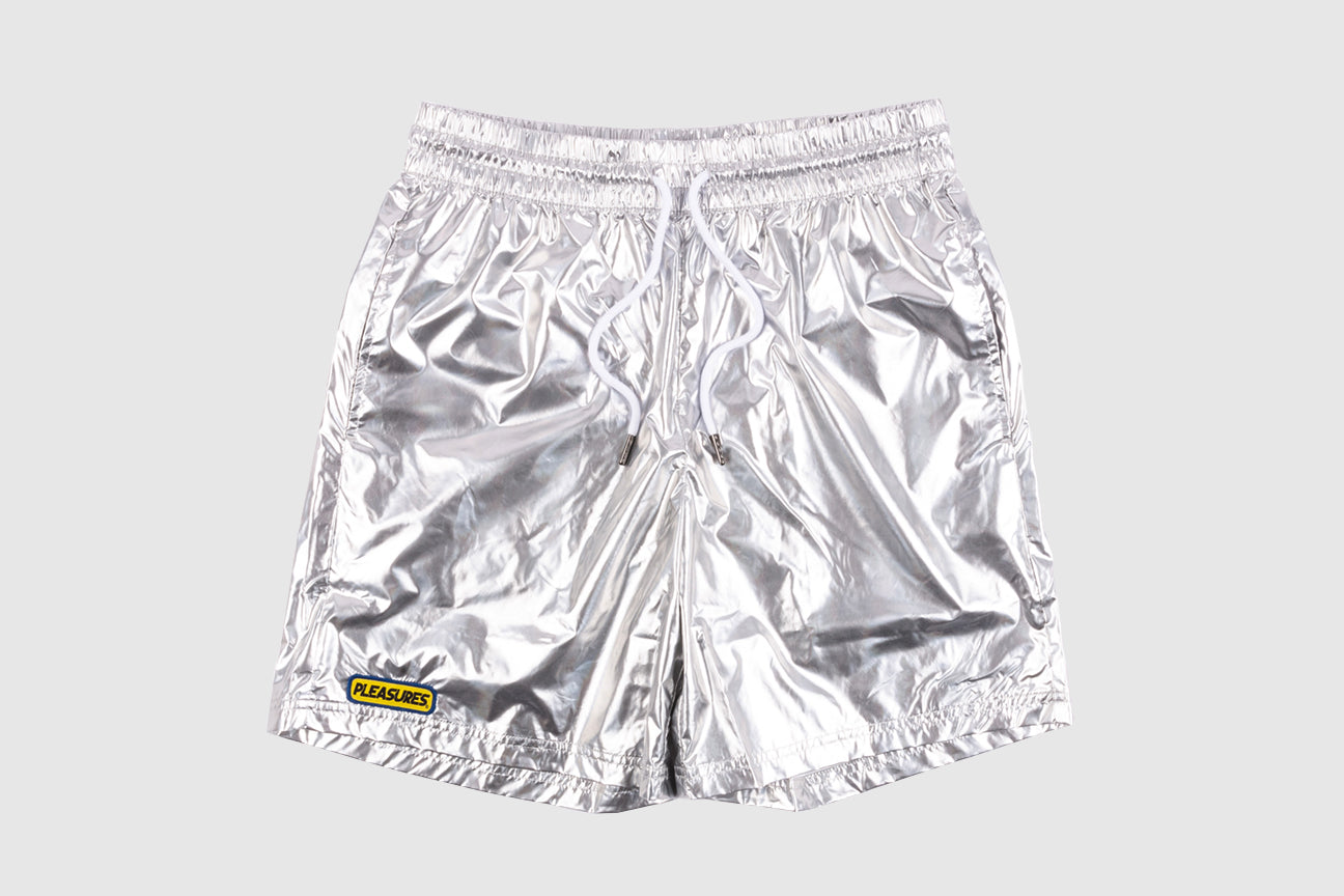 PLEASURES LIQUID METALLIC SHORTS